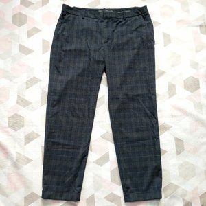 Zara Navy Plaid Checkered Ankle Cropped Pants L